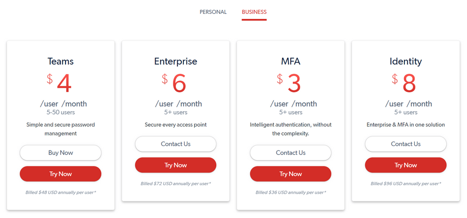 LastPass Business Pricing Plans