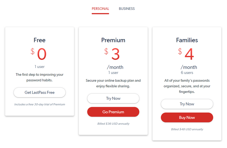 LastPass Personal Pricing Plans