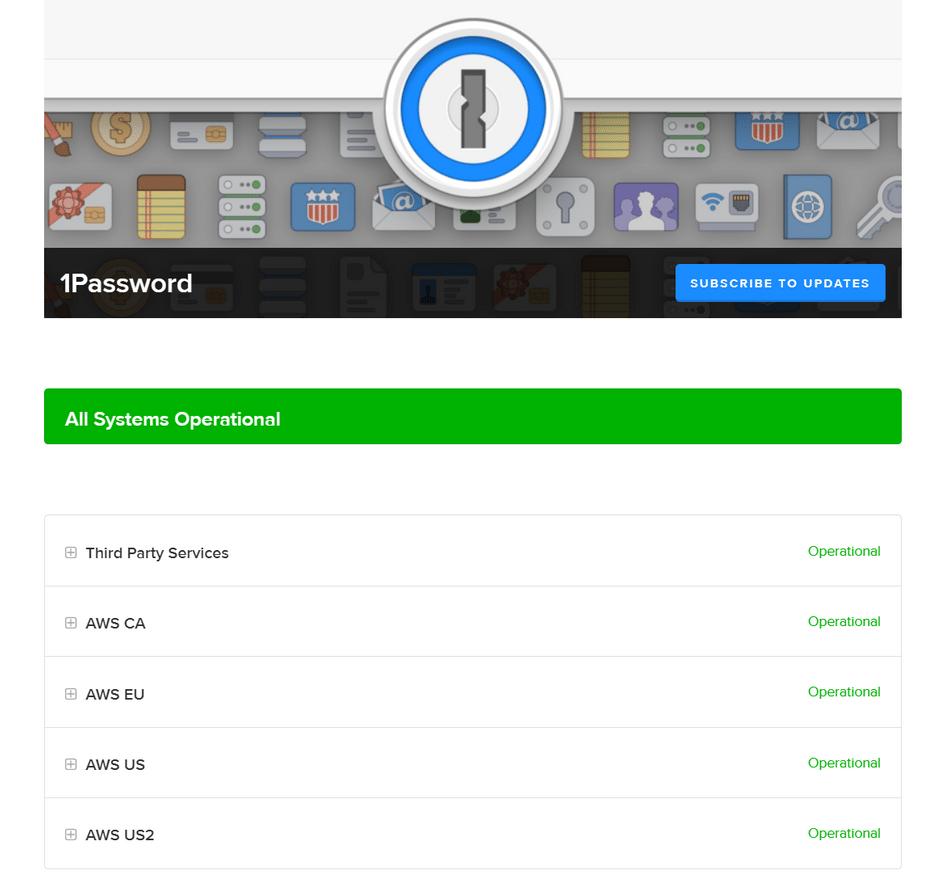 1Password Status Page