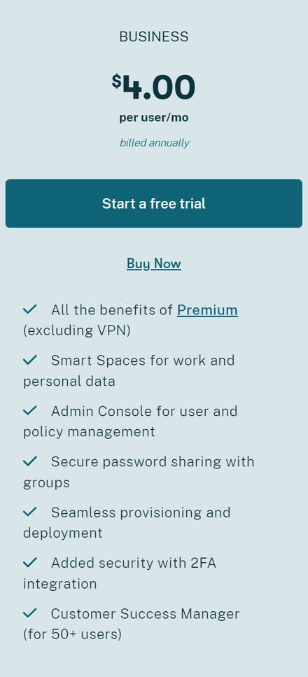 Dashlane Business Pricing Plan