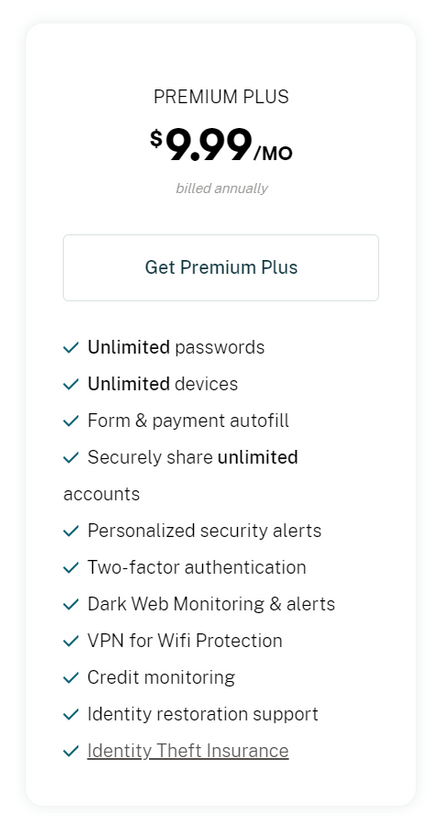 Dashlane Premium Plus Pricing Plan