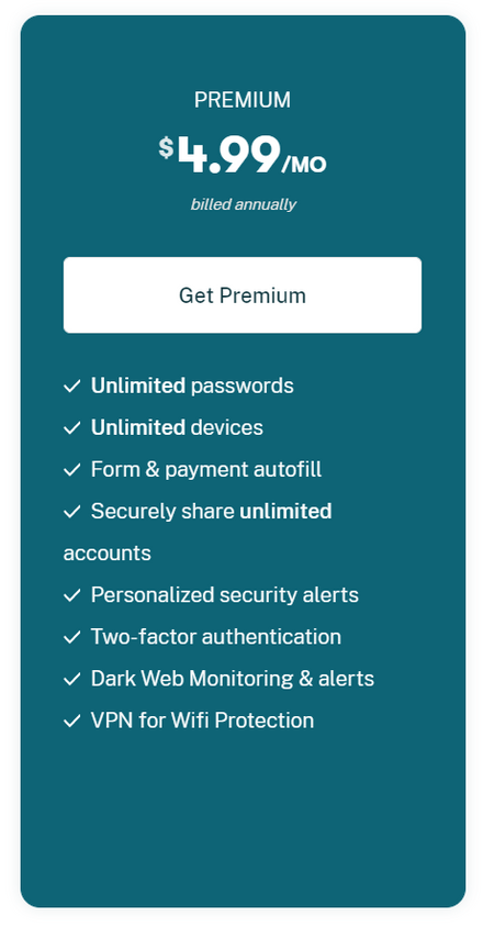 Dashlane Premium Pricing Plan