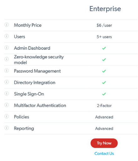 LastPass Enterprise Pricing Plan