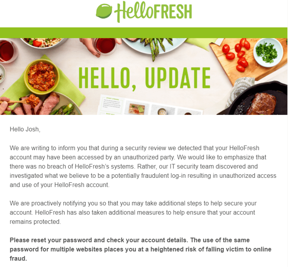 HelloFresh Fraudulent Account Use