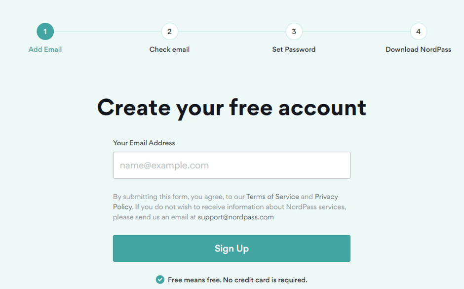 Create Your NordPass Account
