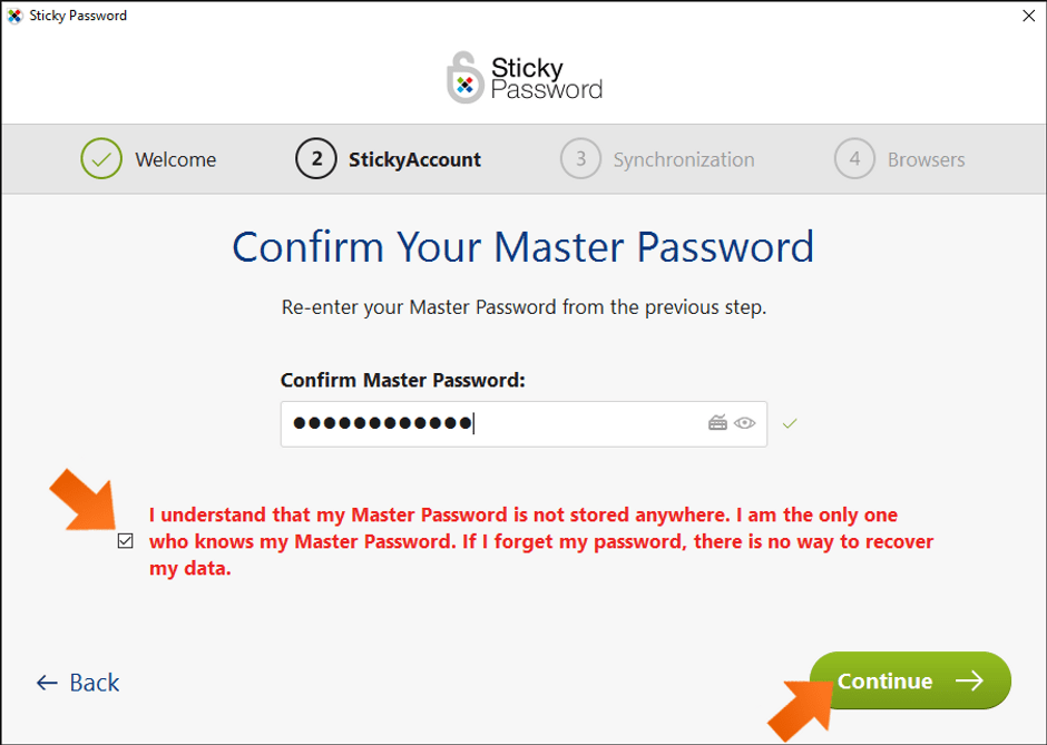 Creating a Sticky Password Master Password