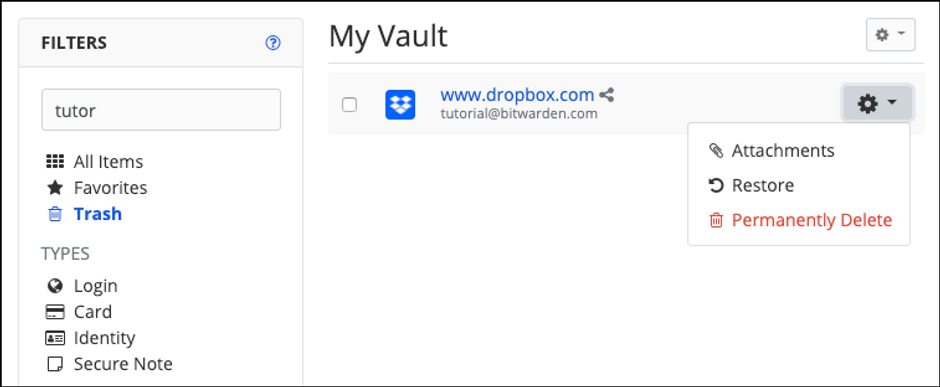 Restore Deleted Items in Your Bitwarden Vault