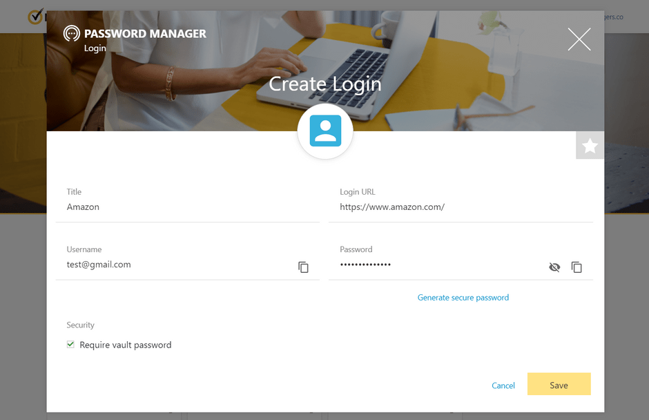 Adding New Login to Norton Password Manager
