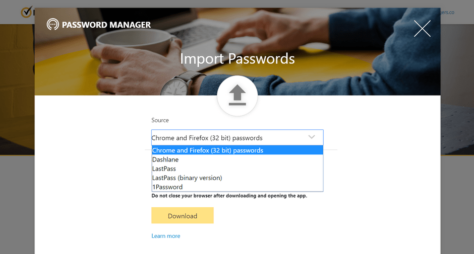 Norton Password Manager Import Function