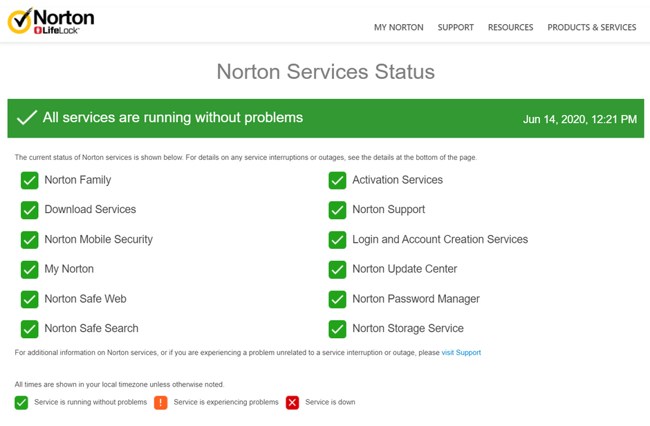 Norton Password Manager System Status