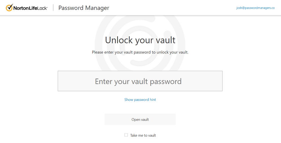 Unlocking Norton Password Manager Vault With Master Password