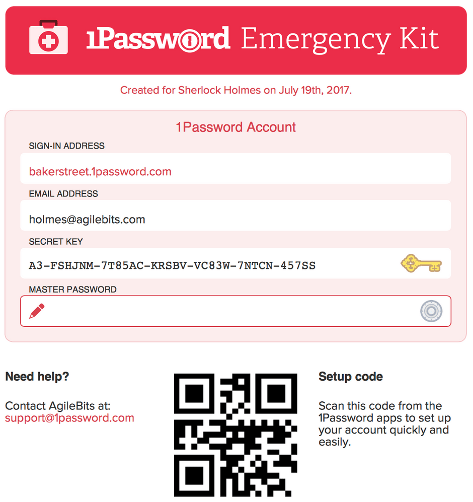 1Password Emergency Kit & Secret Key