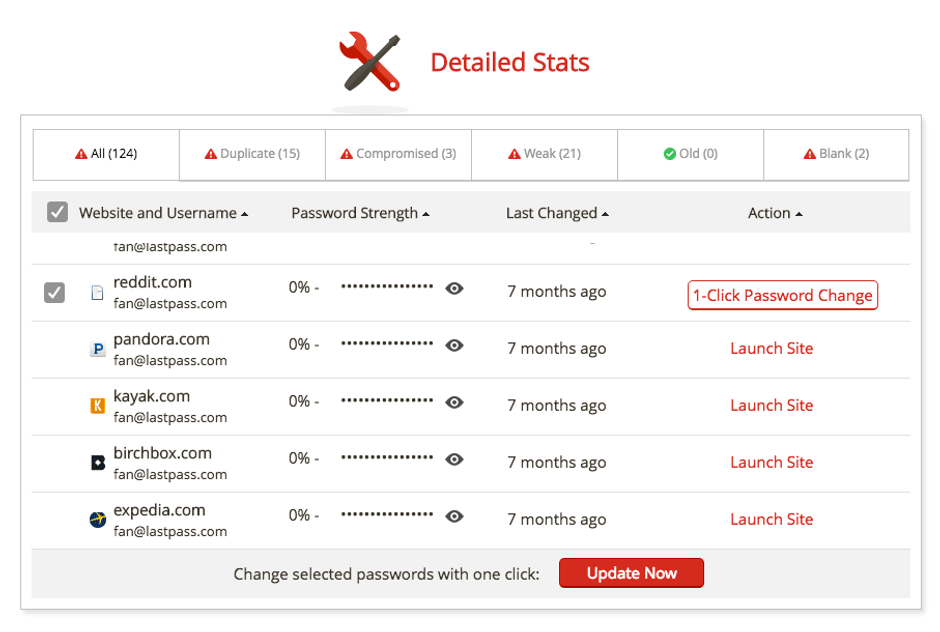 Change Multiple Password at Once with LastPass