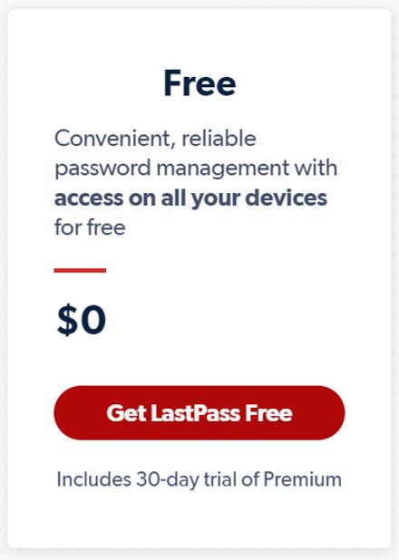 LastPass Free Plan