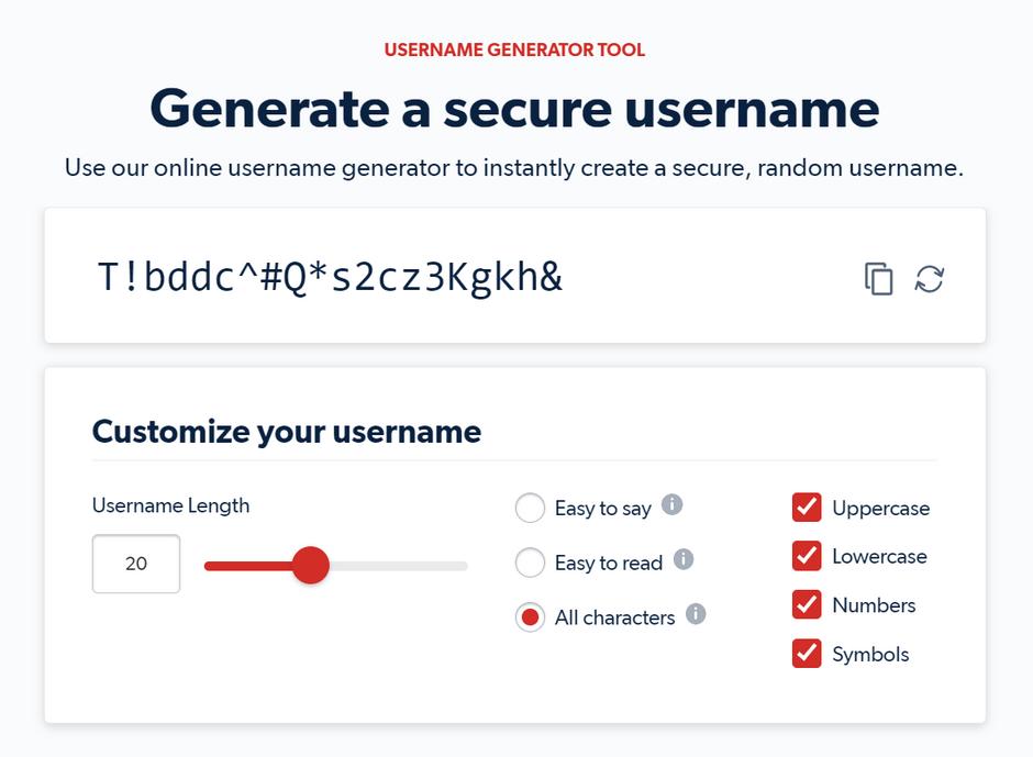 LastPass Username Generator