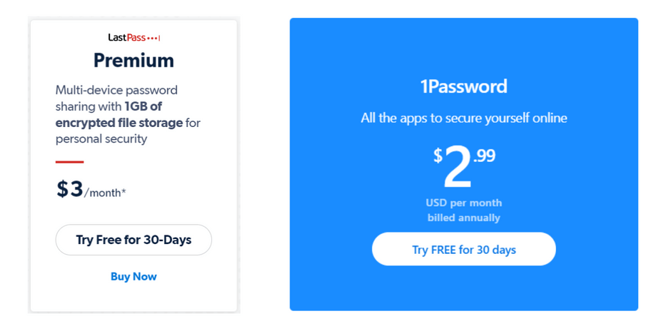 LastPass vs 1Password Premium Pricing Plans