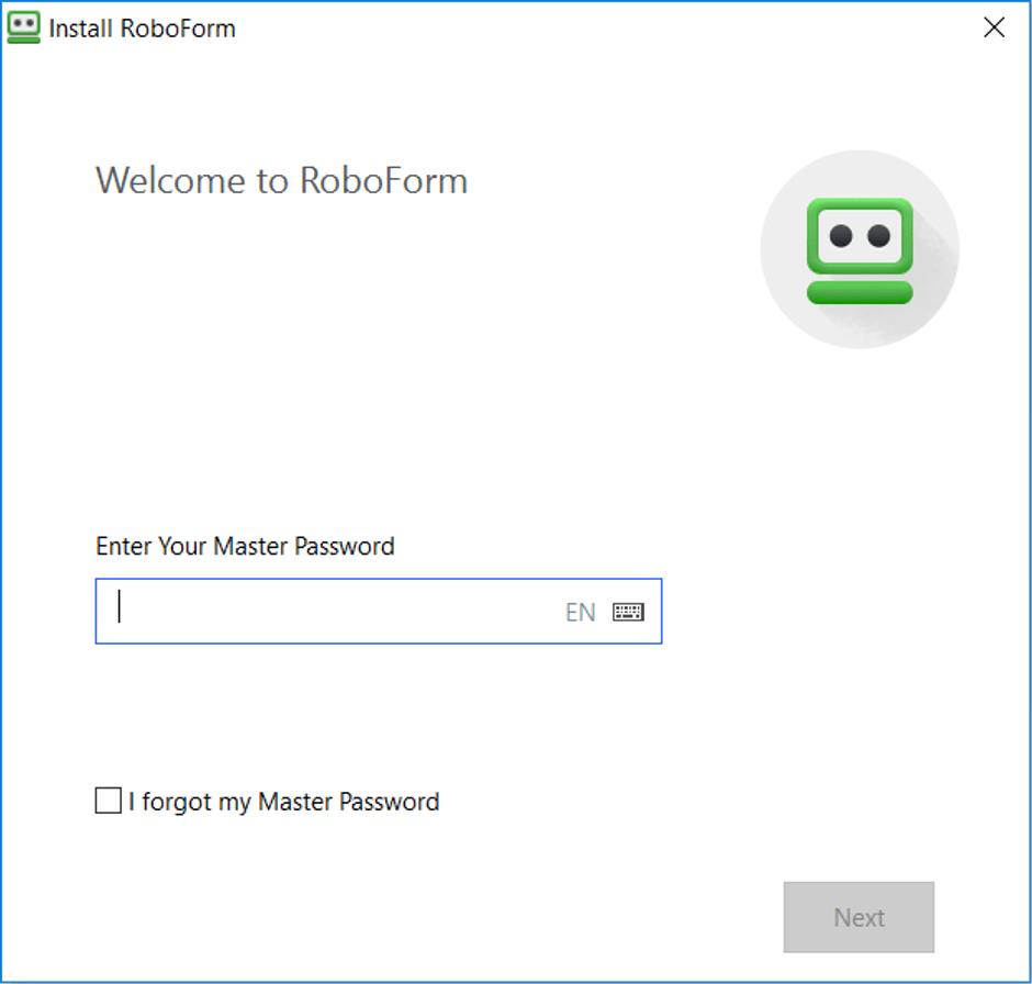 Logging Into RoboForm With Master Password