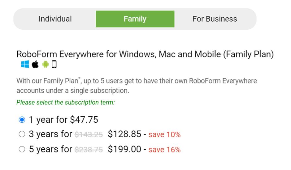 RoboForm Family Pricing Plan